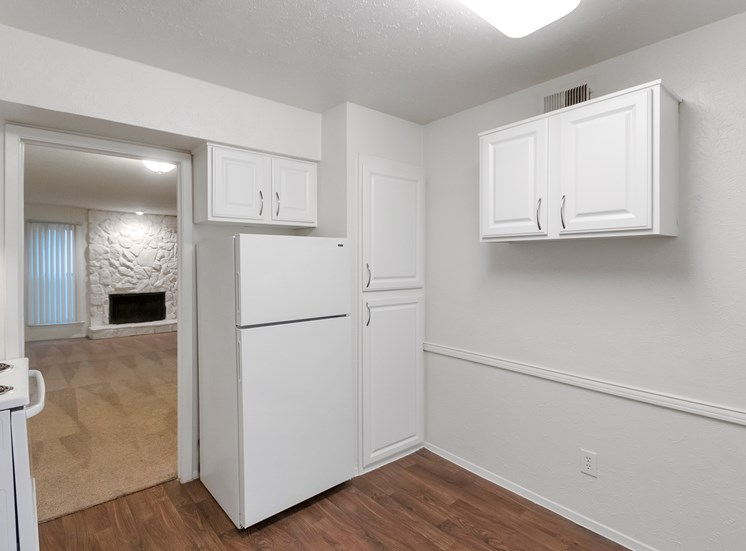This is a photo of the kitchen of the 751 square foot 1 bedroom apartment at Woodbridge Apartments in Dallas, TX.