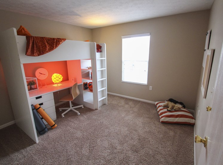 This is a photo of the second bedroom of the 890 square foot 2 bedroom Liberty at Washington Place Apartments in Centerville, OH.