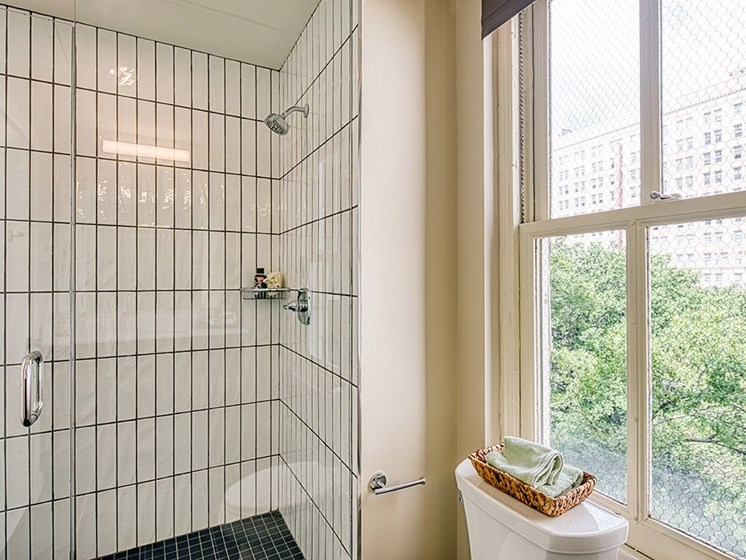 Shower in Luxury Apartments in Downtown Richmond VA