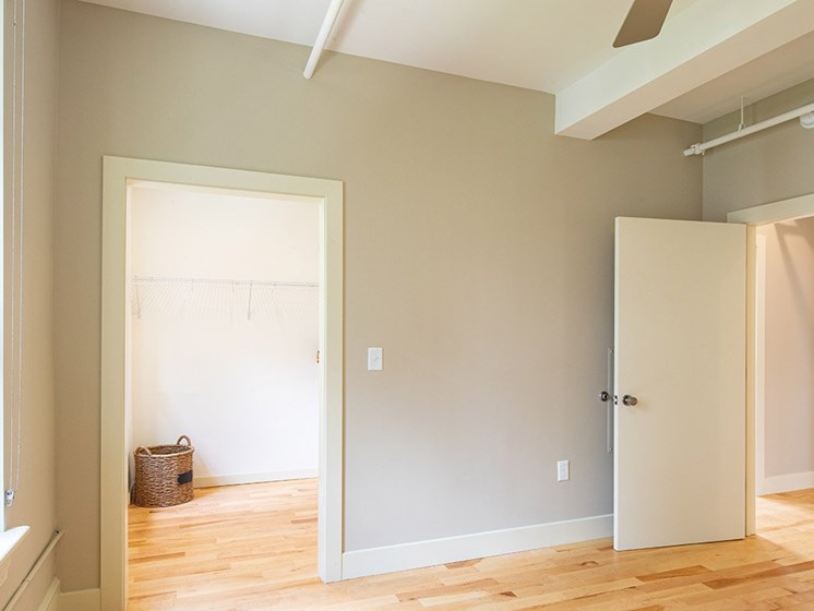 Closet in bedroom at luxury apartments in Downtown Richmond VA