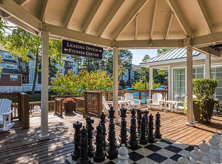 Chess set at Marina Shores Apartments