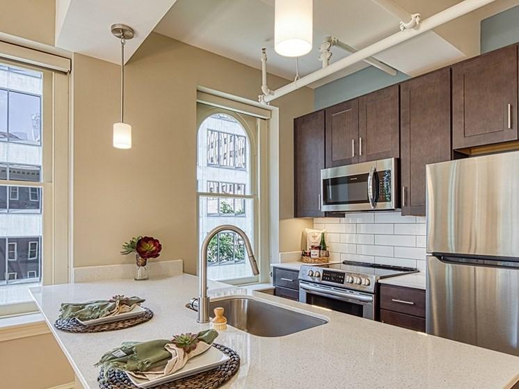 Kitchen island at Stumpf Flats Apartments in Richmond Va