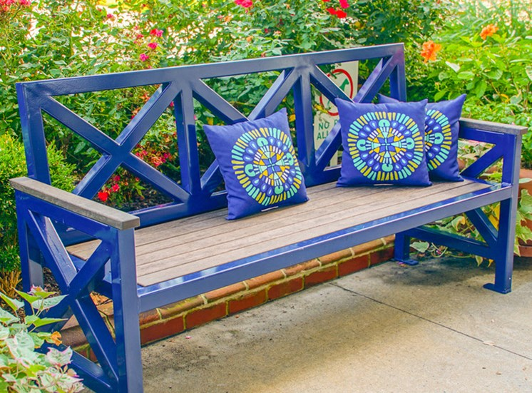 Bench at The Chapman Apartments in Hampton clubhouse