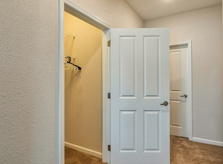 The Choices Apartments Closets with door open