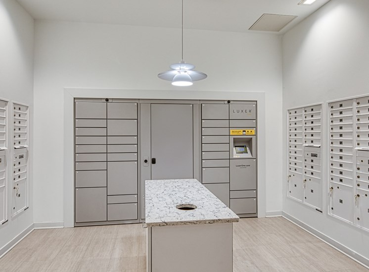 Mail room  at Helix Apartments in Chesapeake Va