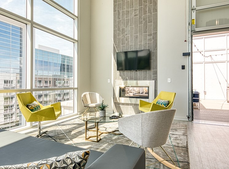 Seating inside the Sky Lounge at Helix Apartments in Chesapeake VA