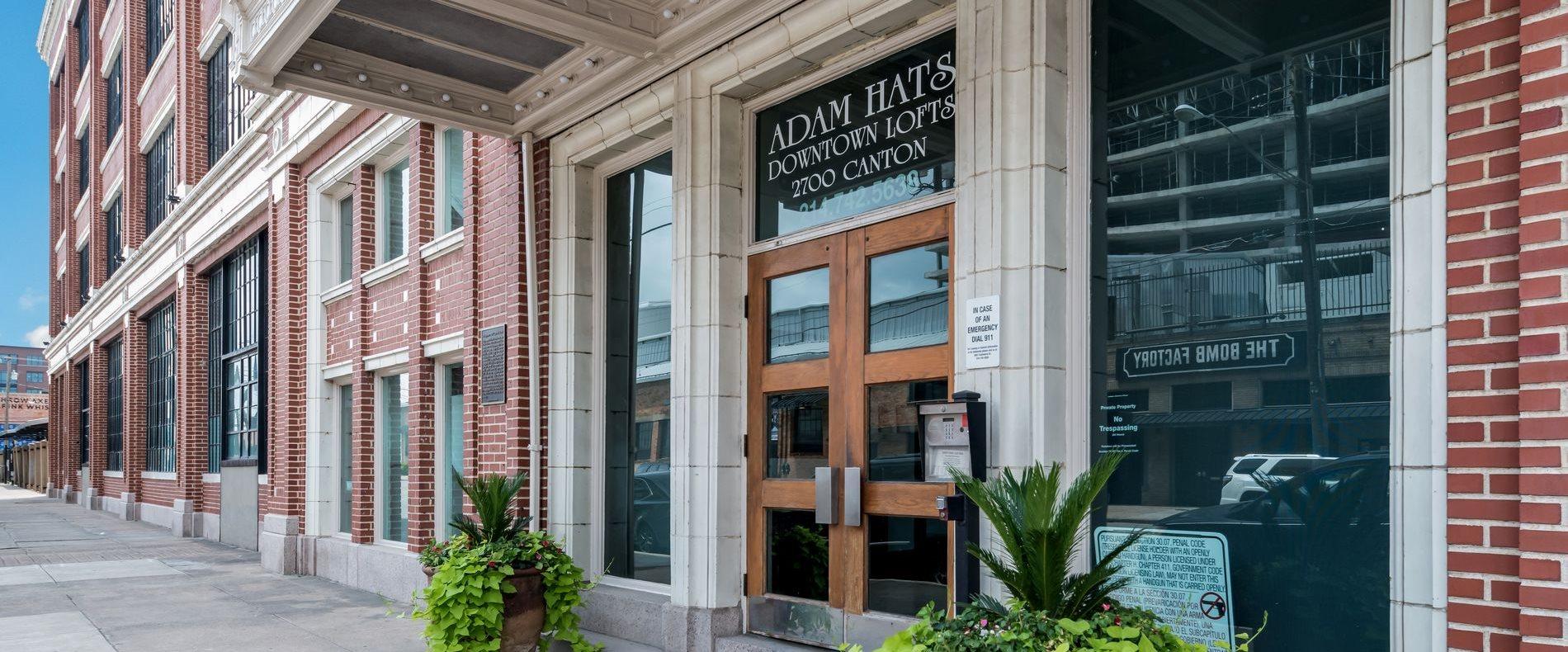 Building Entrance at Adam Hats Lofts in Deep Ellum, Dallas, Texas, TX
