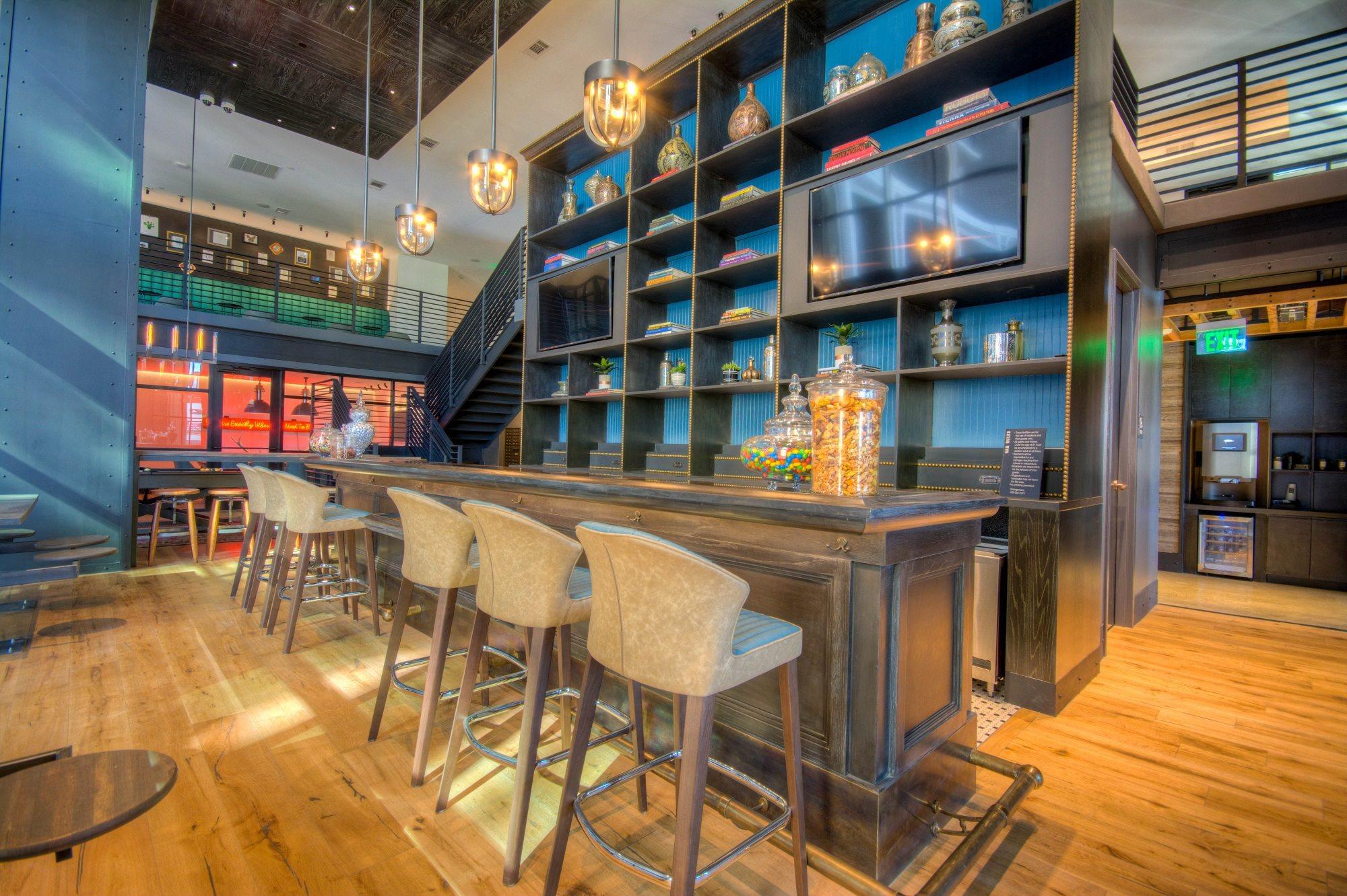 vintage-inspired residential bar area