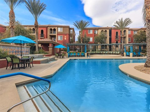 Picturesque Montecito Pointe Swimming Pool And Cabana Setting in Las Vegas, NV Apartment Rentals for Rent