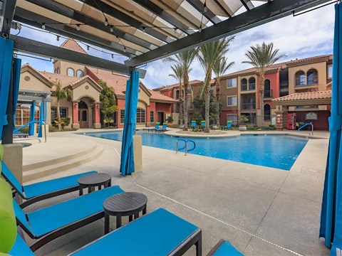 Montecito Pointe Lounge Swimming Pool With Cabana in Nevada Apartment Rentals