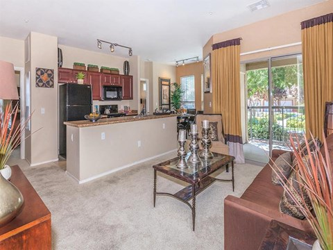 Decorated Sonata Living Room with Kitchen View at North Las Vegas, Nevada Apartment for Rent
