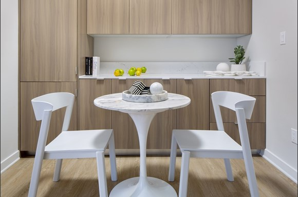 Furnished Westwood Apartments mysuite at Wilshire Margot Co Living Master Suite Dining Table