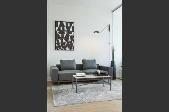 Furnished Westwood Apartments mysuite at Wilshire Margot Co Living Master Suite Living Room Couch Coffee Table