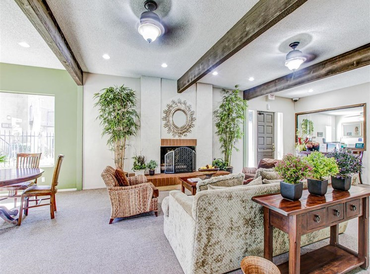 Clubhouse fireplace at Woodlake Apartments in Escondido, CA, For Rent. Now leasing Studio, 1 and 2 bedroom apartments.