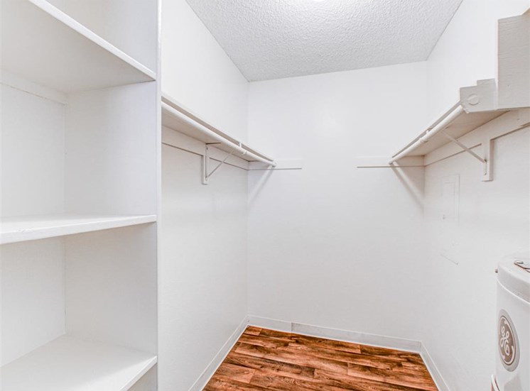 Walk in closet at Woodlake Apartments in Escondido, CA, For Rent. Now leasing Studio, 1 and 2 bedroom apartments.