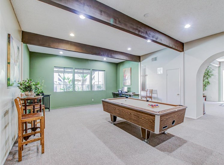 Billiards Room at Woodlake Apartments in Escondido, CA, For Rent. Now leasing Studio, 1 and 2 bedroom apartments.