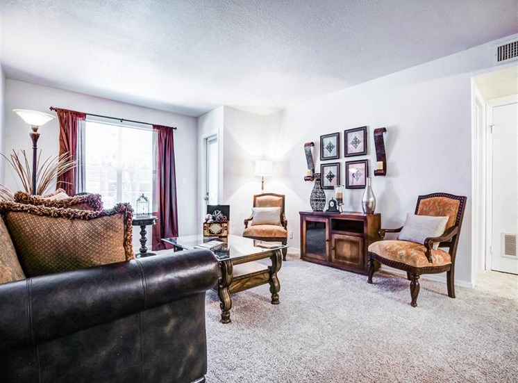 Spacious living areas at Greenbriar Apartments in South Tulsa, OK.