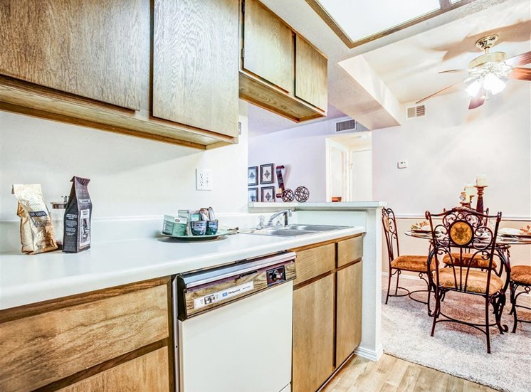 Dishwashers and dining rooms in every Greenbriar Apartment. For Rent. Now Leasing.
