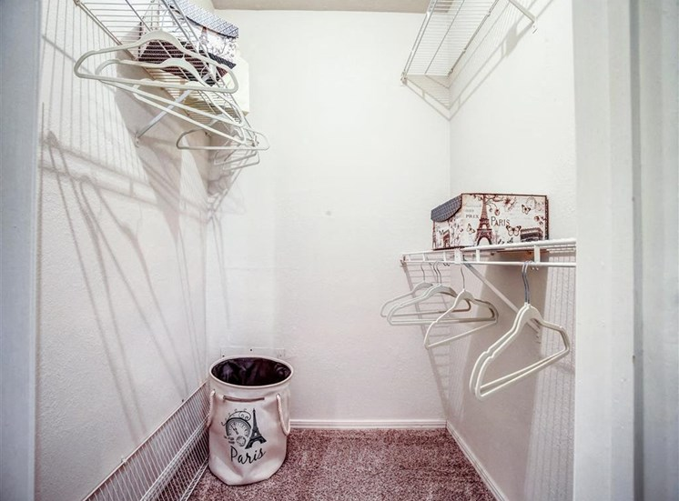 Huge walk-in closets in 1 and 2 bedroom apartments for rent now.