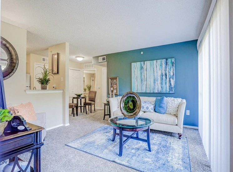 Open floor plan at Trinity Square Apartments in North Dallas, TX, For Rent. Now leasing 1 and 2 bedroom apartments.