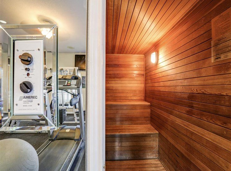 Sauna at Trinity Square Apartments in North Dallas, TX, For Rent. Now leasing 1 and 2 bedroom apartments.