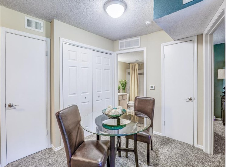 Dining room at Trinity Square Apartments in North Dallas, TX, For Rent. Now leasing 1 and 2 bedroom apartments.