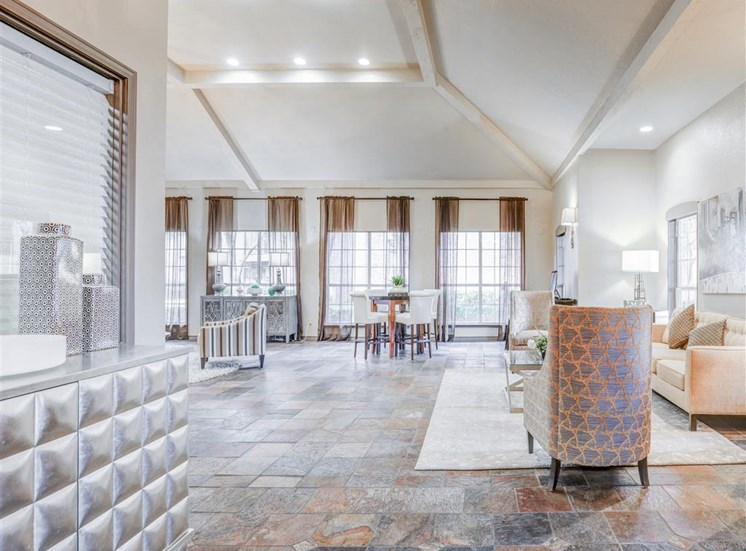 Modern Clubhouse finishes at Trinity Square Apartments in North Dallas, TX, For Rent. Now leasing 1 and 2 bedroom apartments.