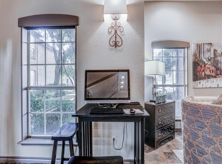 Internet access at Clubhouse at Trinity Square Apartments in North Dallas, TX, For Rent. Now leasing 1 and 2 bedroom apartments.