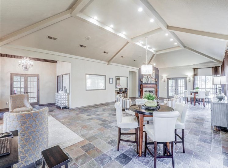 Expansive Clubhouse at Trinity Square Apartments in North Dallas, TX, For Rent. Now leasing 1 and 2 bedroom apartments.
