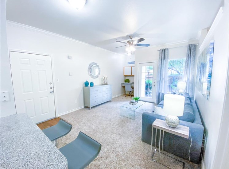 Open living space at Tuscany Square Apartments in North Dallas, TX, For Rent. Now leasing Studio, 1 and 2 bedroom apartments.