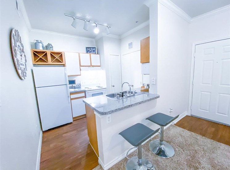 Built in wine rack at Tuscany Square Apartments in North Dallas, TX, For Rent. Now leasing Studio, 1 and 2 bedroom apartments.