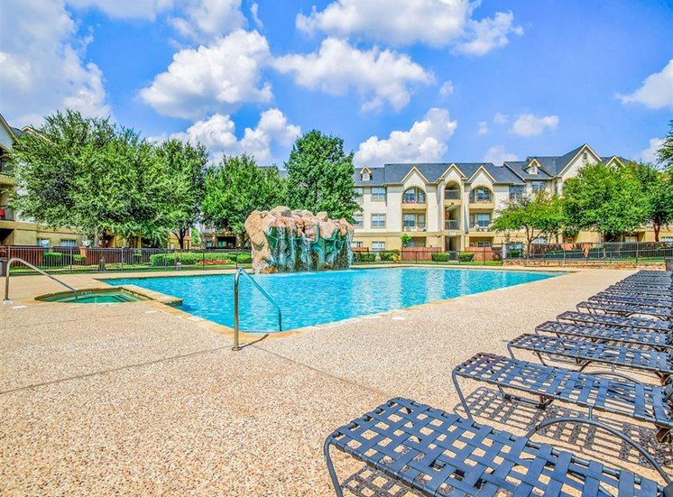 Sun deck poolside at Tuscany Square Apartments in North Dallas, TX, For Rent. Now leasing Studio, 1 and 2 bedroom apartments.
