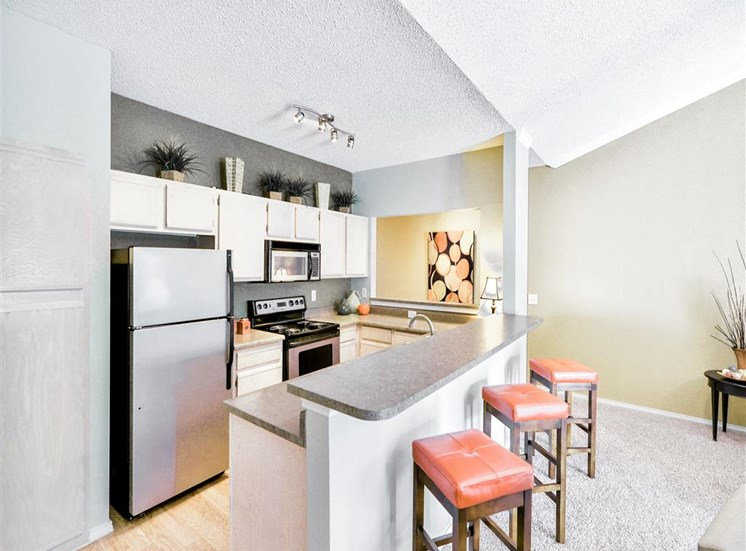 Dine in breakfast bar at The Winsted at Valley Ranch in Irving, TX, For Rent. Now leasing 1 and 2 bedroom apartments.
