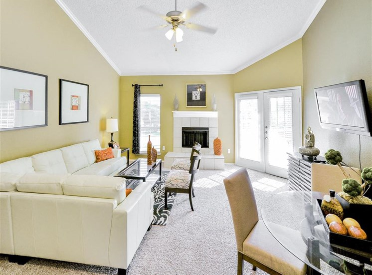 French doors to patio at The Winsted at Valley Ranch in Irving, TX, For Rent. Now leasing 1 and 2 bedroom apartments.