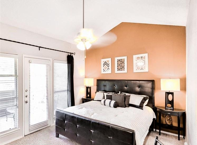 Vaulted Ceilings in Master bedroom at The Winsted at Valley Ranch in Irving, TX, For Rent. Now leasing 1 and 2 bedroom apartments.