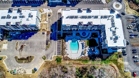Aerial view of the clubhouse building at 3800 Aqua Apartments