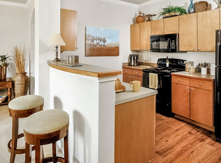 Kitchen with Black Appliances and Microwave  above the stove