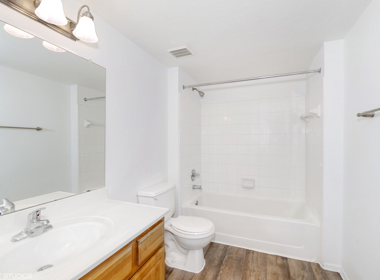 Bathroom with tiled shower and large mirror with vanity lighting
