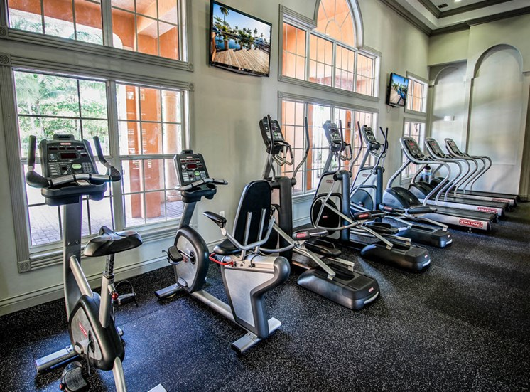 24-Hour Fitness Center with bikes and treadmills