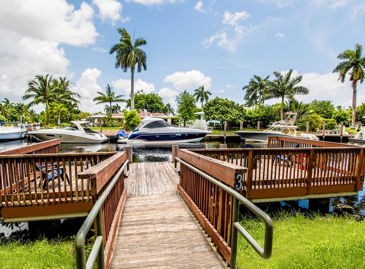 Lake with Pier, yachts and palm trees