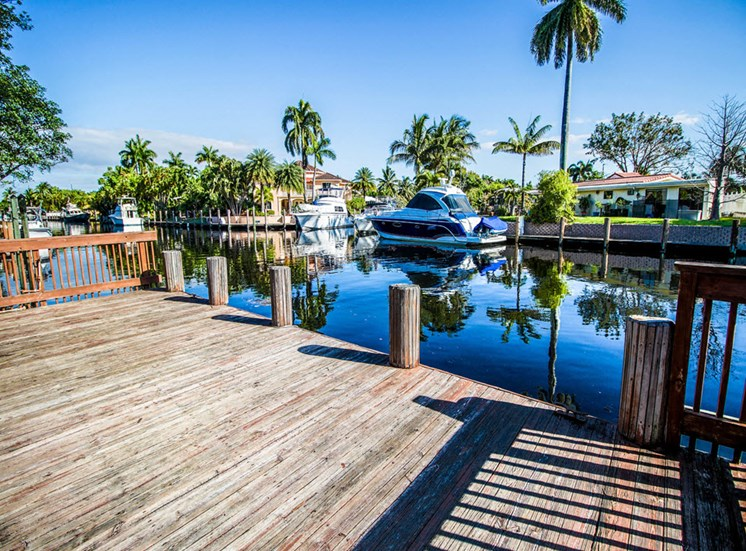 Lake with Pier with yachts on the water and palm trees