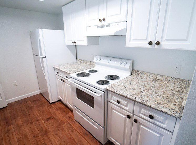 Kitchen with hardwood style flooring, white appliances, and white cabinets