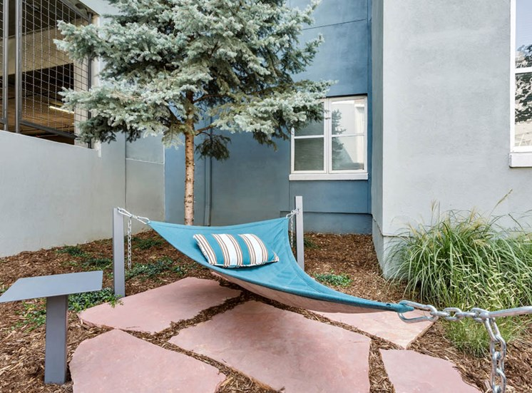 Courtyard Next to Building with Blue Hammock