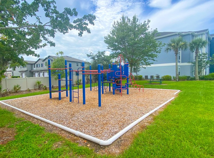 Outdoor playground with slides, latter's surrounded by native landscaping