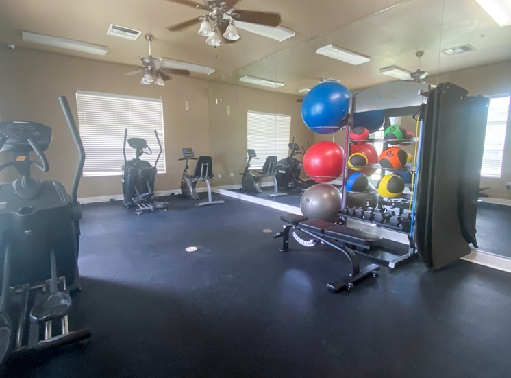 Fitness center with cardio equipment, multi speed ceiling fans, yoga equipment, and large windows for natural lighting