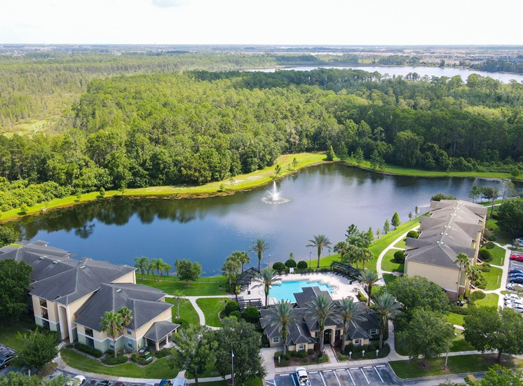Ariel view of property and lake