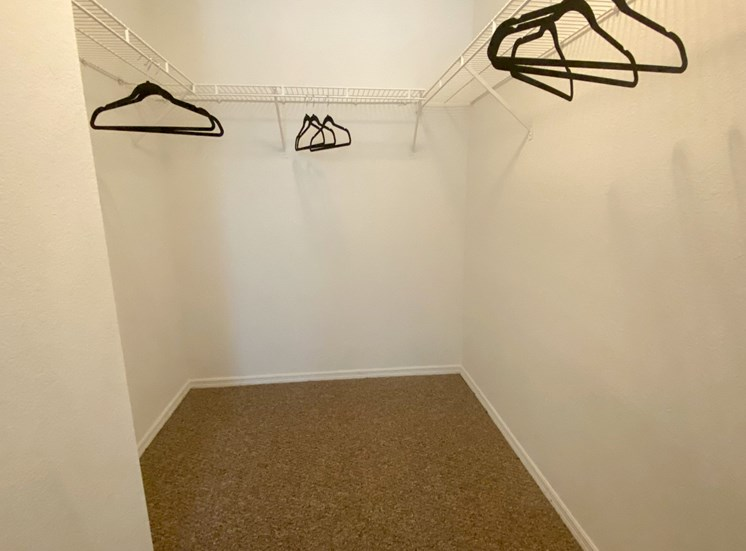 Spacious carpeted closet with mounted metal shelves and hangers