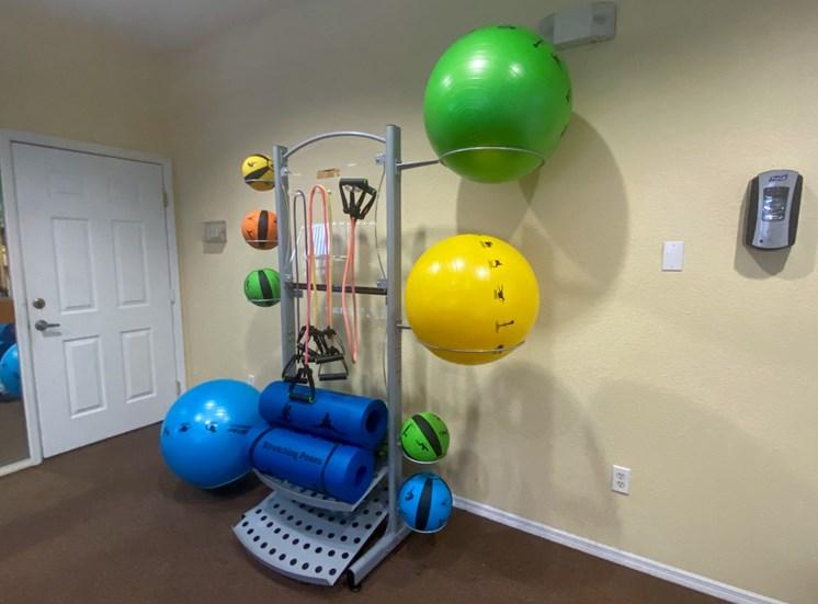 Fitness center with yoga balls, medicine balls, yoga mats, resistance bands and hand sanitizing  station