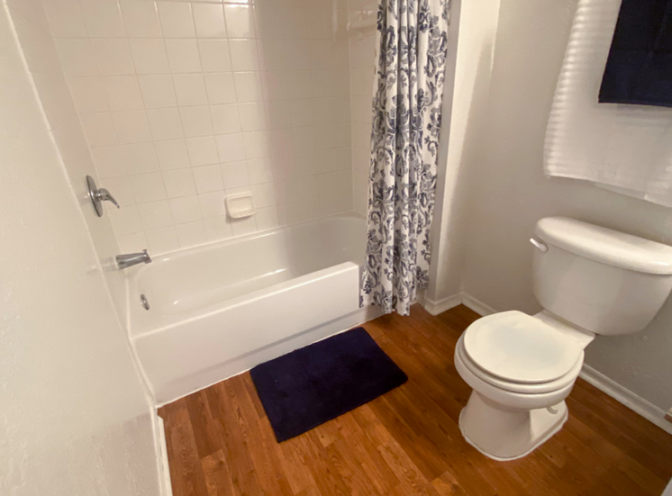 Bathroom with hardwood style flooring and tiled shower