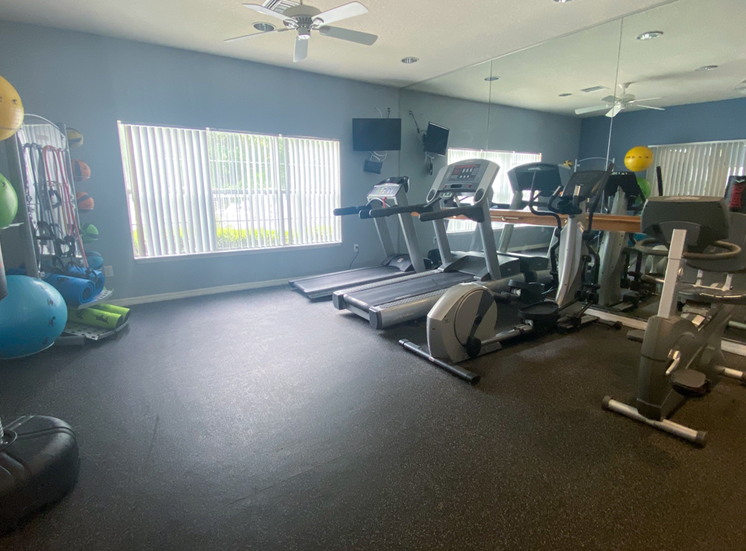 Fitness center with cardio equipment, resistant band training equipment, punching bag, large window for natural lighting, and multi speed ceiling fan